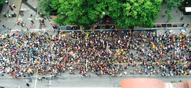 crowd marching on street by tree