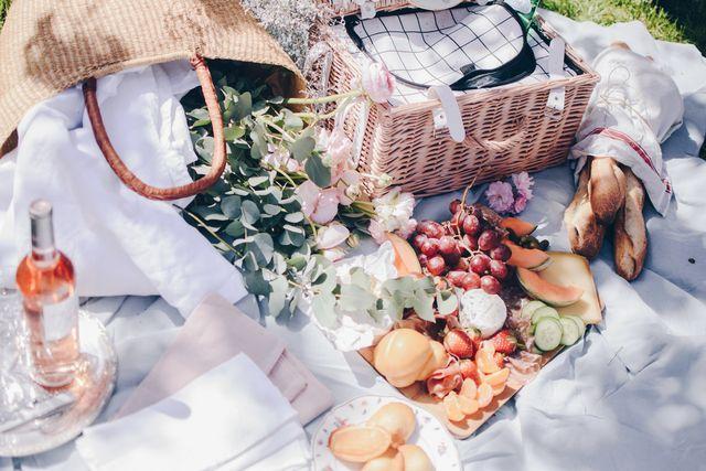 high angle view of food and basket on cloth