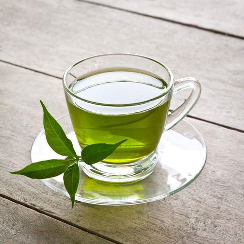 High Angle View Of Green Tea In Cup