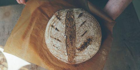 high angle view of homemade sourdough bread