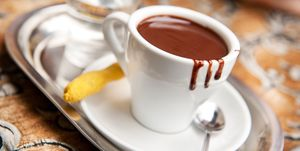 High Angle View Of Hot Chocolate Served On Table