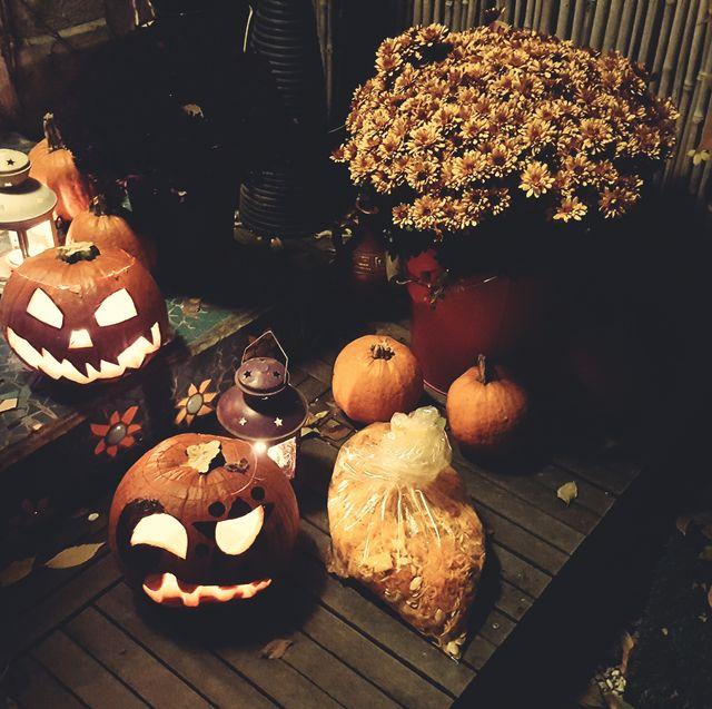 High Angle View Of Illuminated Halloweens
