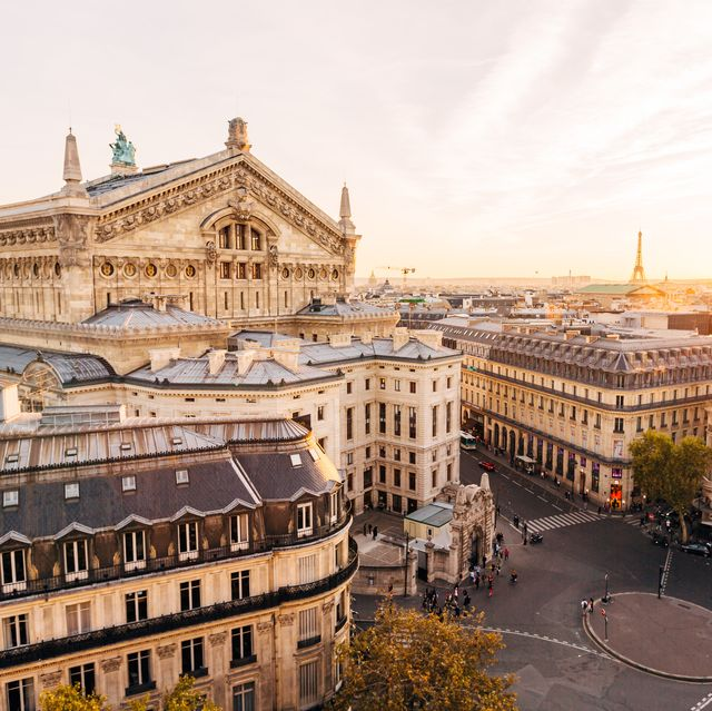 High angle view of Paris skyline at sunset