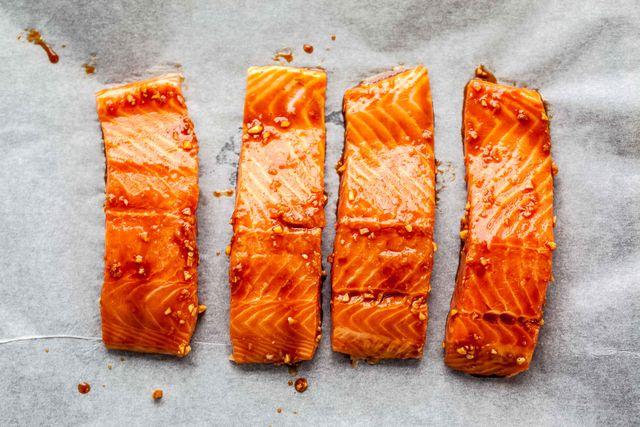 high angle view of salmon on table