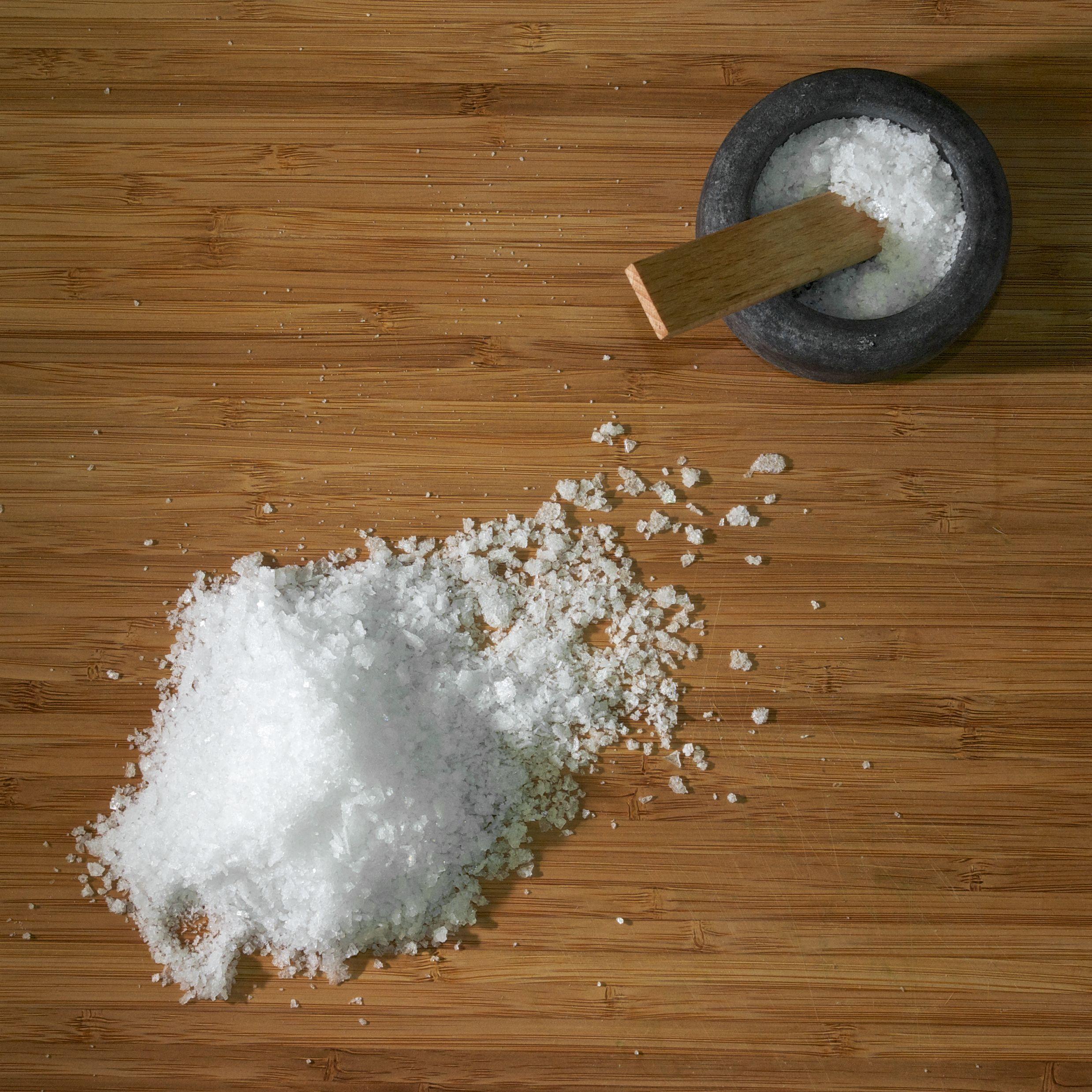 High Angle View Of Salt On Table