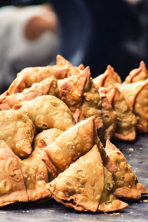 High Angle View Of Samosas On Market Stall