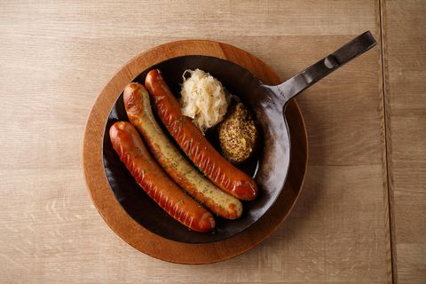 high angle view of sausages served on table