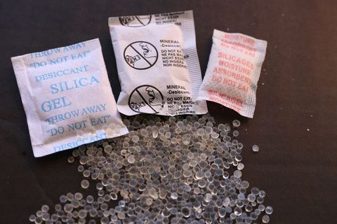 High Angle View Of Silica Gel Over Black Background