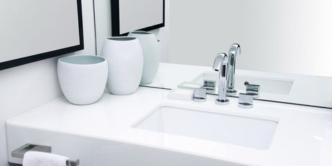 High Angle View Of Sink Against Mirror In Bathroom