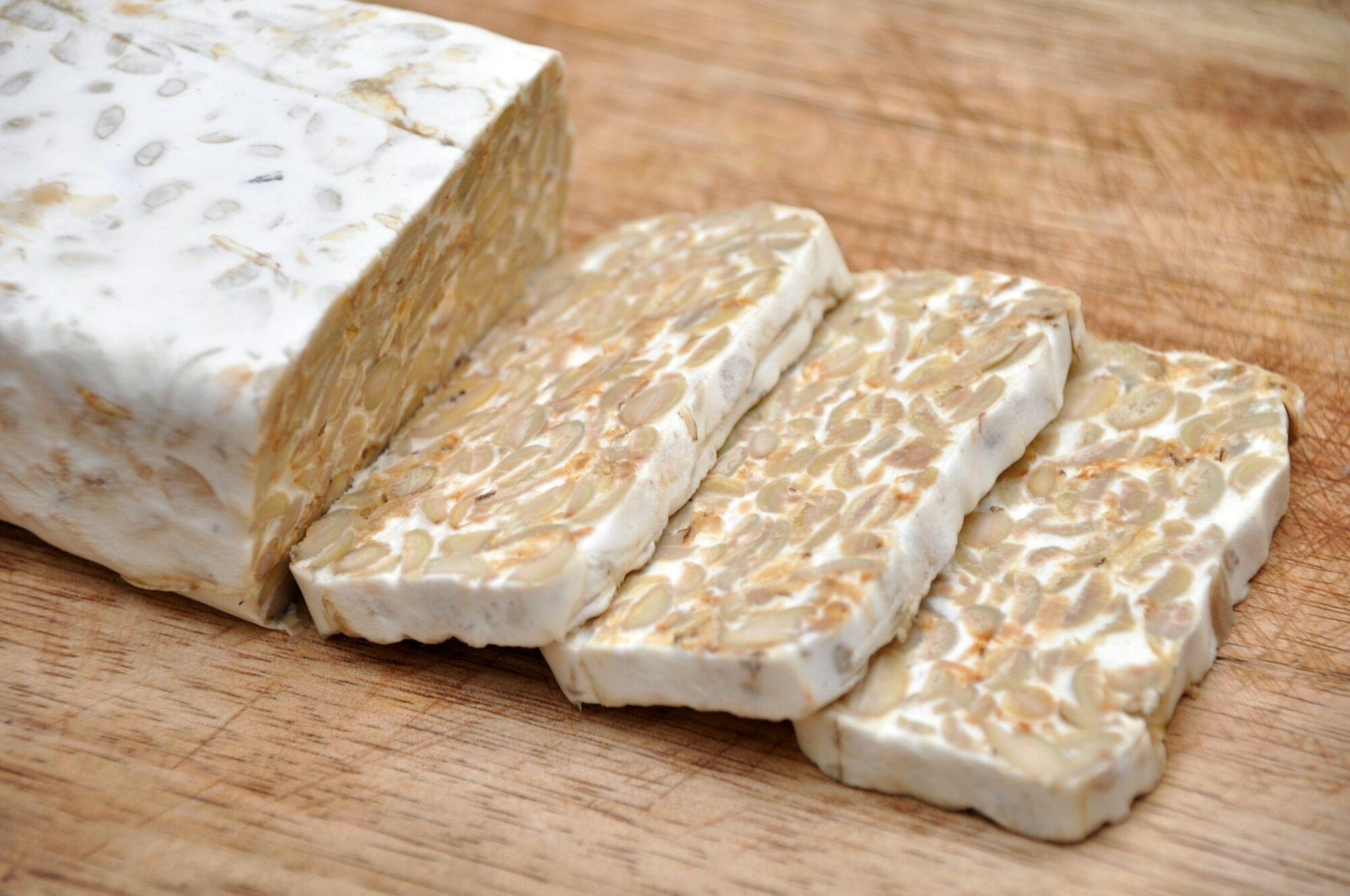 High Angle View Of Tempeh On Table