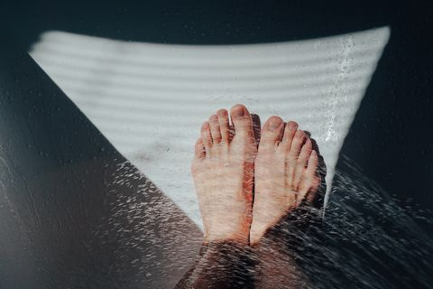 High Angle View Of Water Splashing Over Legs