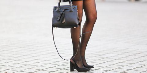 Brown, Human leg, Shoe, Joint, Bag, High heels, Style, Fashion, Shoulder bag, Black,