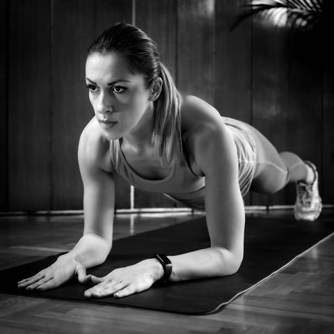 high intensity interval training workout plank position