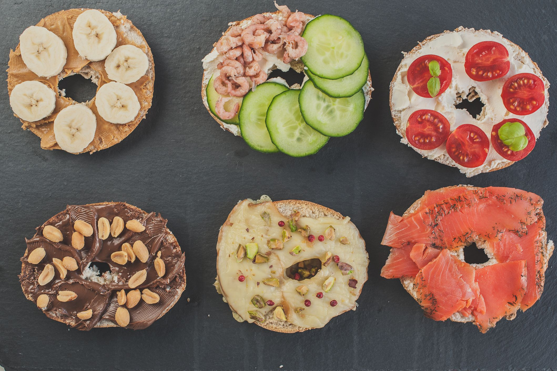 Variety Of Sweet And Salty Bagels Top View Flat Lay