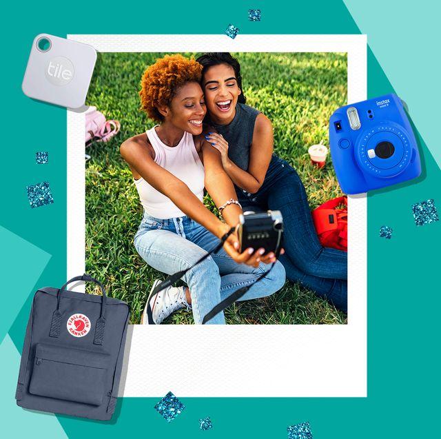 teenagers using polaroid camera