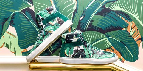 Green, Footwear, Leaf, Design, Plant, Banana leaf, Shoe, Illustration,