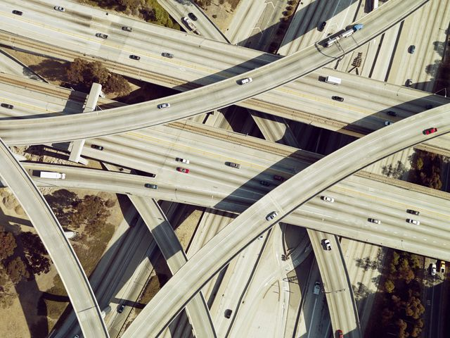 highway intersection, los angeles, california, usa