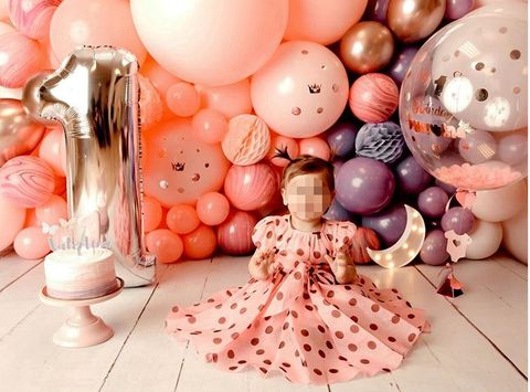 Pink, Balloon, Peach, Party supply, Party, Interior design, Ornament, Centrepiece,