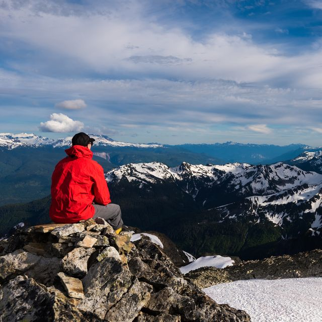 hiker looking at snow covered mountains