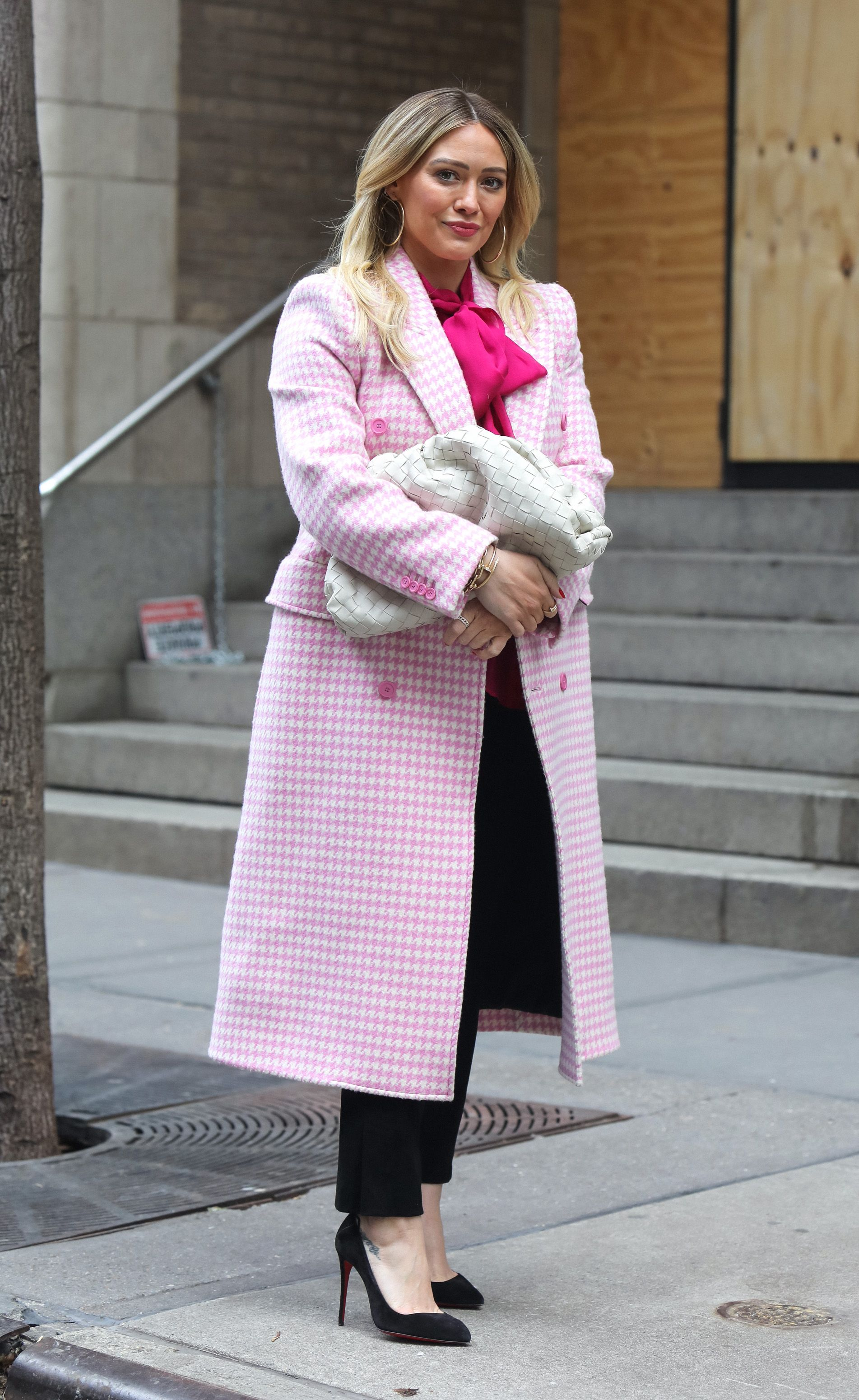 Hilary Duff Bundles Up in A Pretty Pink Tweed Coat on the NYC 'Younger' Set