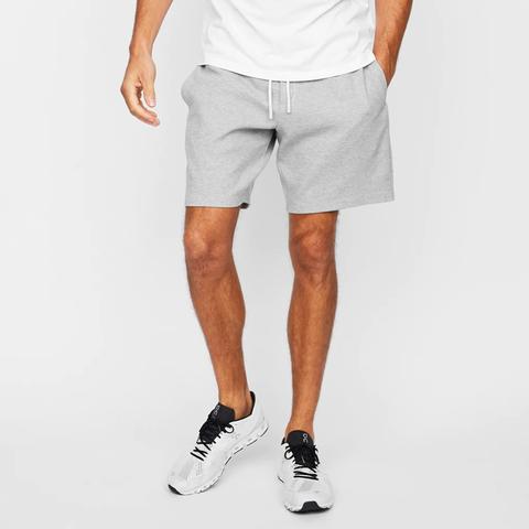 grey shorts on model