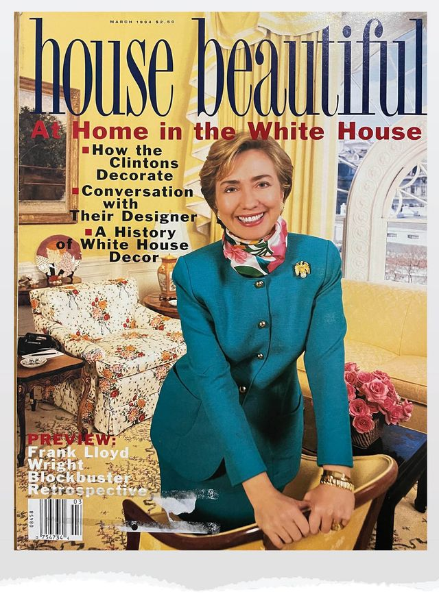 hillary clinton at the white house, as seen in house beautiful's march 1994 issue