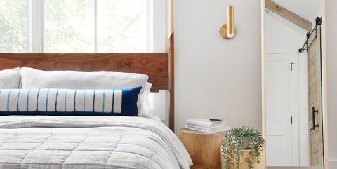 Furniture, Bedroom, Room, Bed, Bed sheet, Interior design, Bedding, Bed frame, Property, Wall,