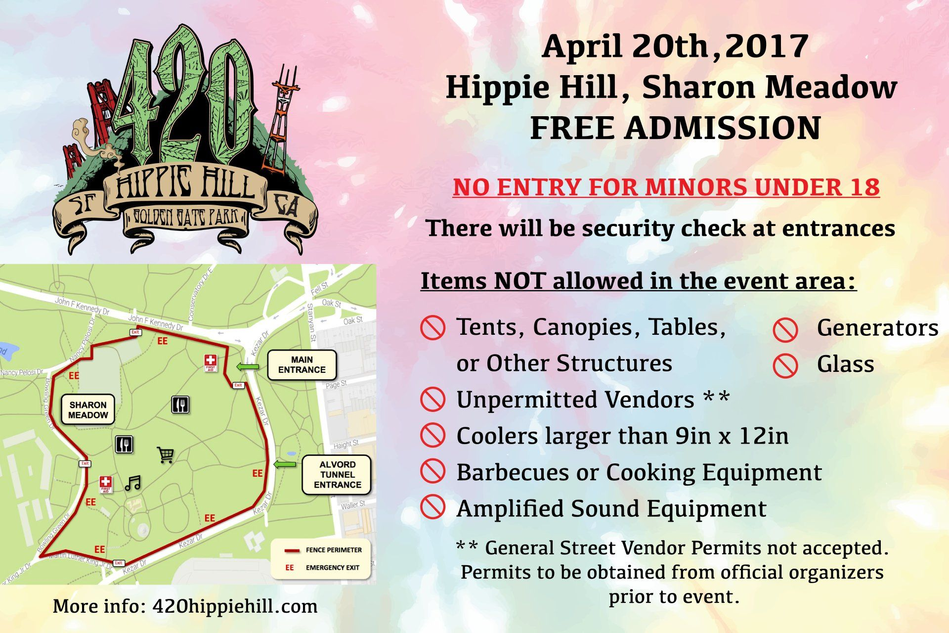 The official 420 Hippie hill 2017 event map.