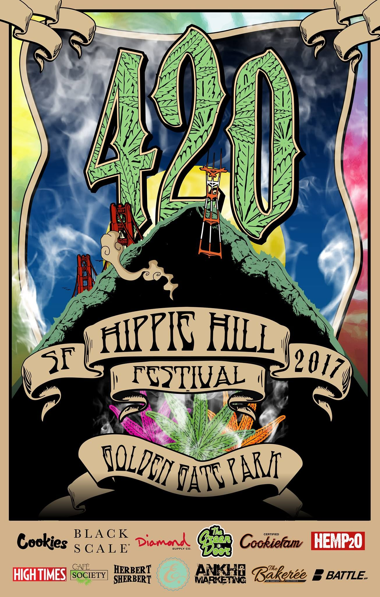 Official 420 Hippie Hill event poster.