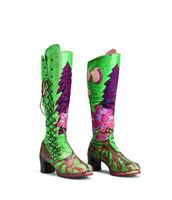Sequoia boots, circa 1970, of appliqued dyed leather, were designed by Jeanne Rose and executed by Rainbow Cobblers.