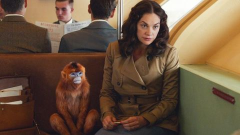 Mrs Coulter and her daemon in 'His Dark Materials'
