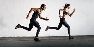 Hispanic Man and Women Running Together