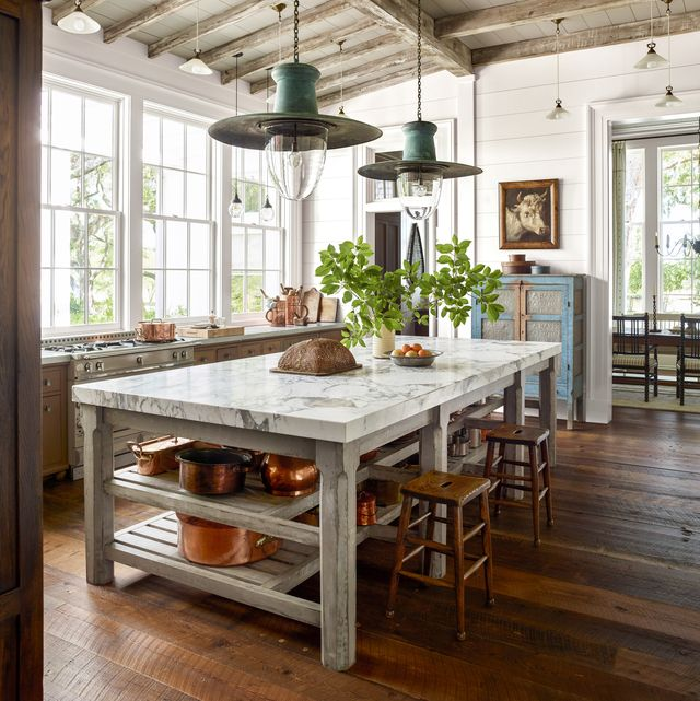 neutral farmhouse kitchen with large island
