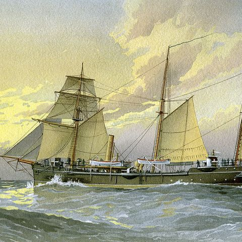 HMS 'Thrush', British 1st class gunboat, c1890-c1893.Artist: William Frederick Mitchell
