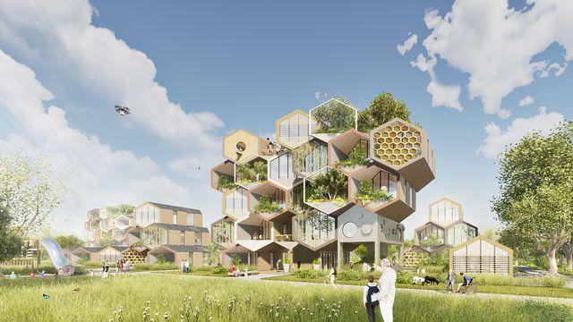 proyecto hive de gianluca santosuosso design, un complejo residencial en forma de panal