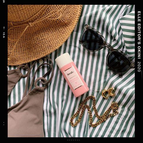 Sunglasses, Goggles, Linens, Eye glass accessory, Home accessories, Peach, Kitchen utensil, Still life photography, Wicker, Fedora,