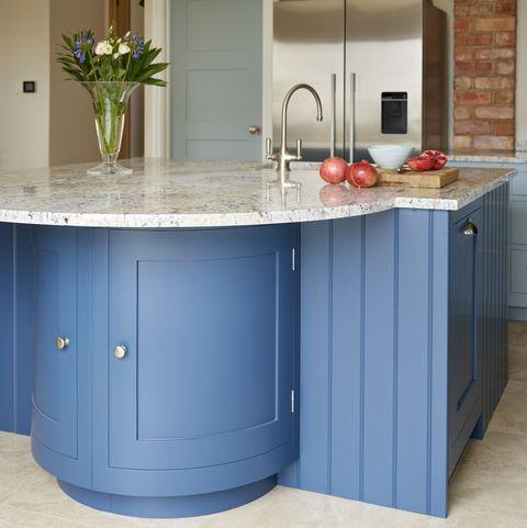 light blue kitchen island