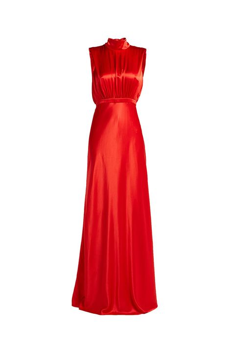 Dress, Clothing, Day dress, Red, Gown, Cocktail dress, A-line, Satin, Strapless dress, Formal wear,