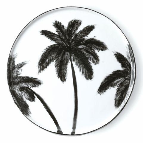 vajilla pintada a mano con palmeras