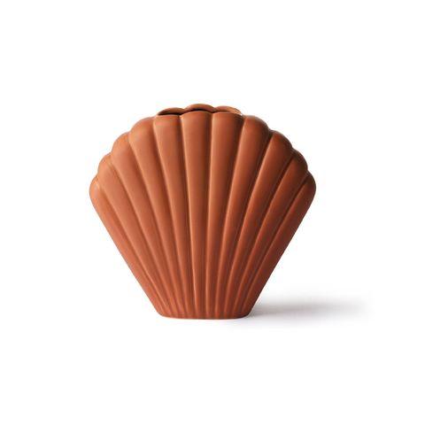 hkliving vaas in de vorm van een schelp in roestbruine kleur