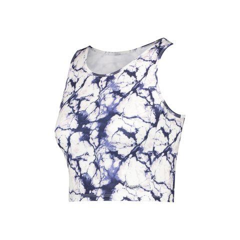 hkmx sport tank top marble wit blauw sportshirt topje mouwloos shirt