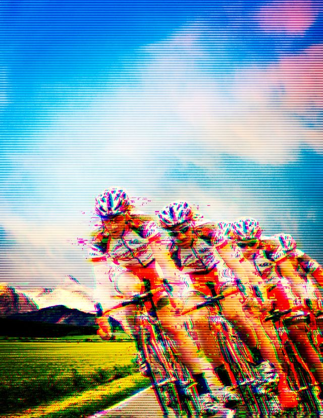 pixillated image of a cycling peloton looking fast