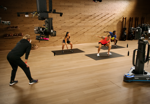 people training in front of camera
