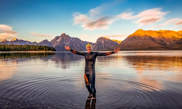 will turner in wetsuit in lake in grand teton park