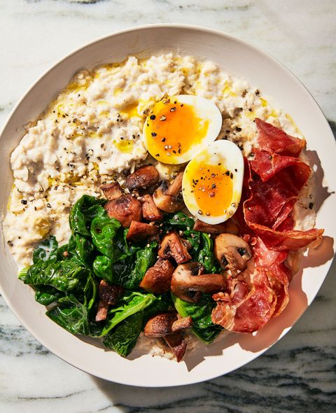 breakfast power bowl with egg and prosciutto