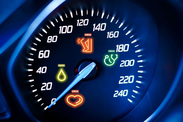 speedometer with warning lights of a heart, drop of blood, stethoscope and hurting knee