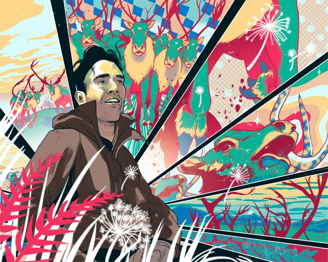 illustration of man surrounded by abstract nature scenes