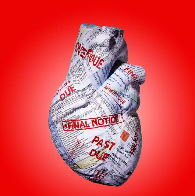 heart made out of papier mache bills