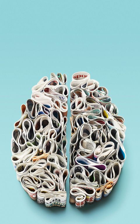 brain made of rolled up newspapers