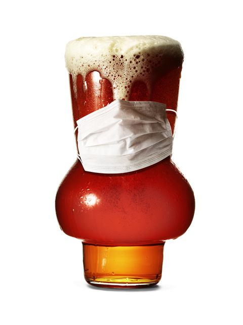 beer glass with covid 19 face mask